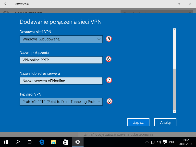 Windows 10 PPTP VPN