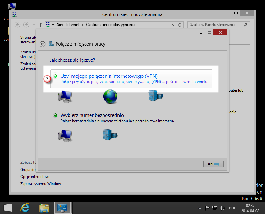 Windows 8 PPTP VPN